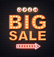 neon sign big sale open on brick wall background vector image vector image