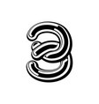 number 3 celtic font norse medieval ornament abc vector image vector image