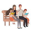 parents couple with children sitting in park chair vector image vector image