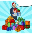Pop Art Man in Santa Hat with Gifts Christmas Sale vector image vector image