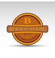 retro badge with bit coin symbol vector image vector image