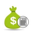 sack money with calculator financial vector image vector image