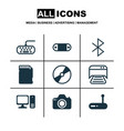 set of 9 computer hardware icons includes cd-rom vector image vector image