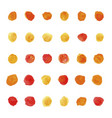 set of watercolor pastel orange and red round vector image vector image