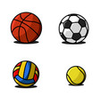 set sport balls fun colorful icons vector image