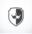 shield with crown icon vector image vector image