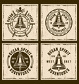 ship bell nautical brown vintage emblems vector image