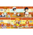 Six scenes of people cooking in kitchen vector image