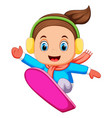 snowboarder freerider jumping vector image vector image