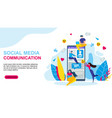 social media communication cartoon people phone vector image vector image
