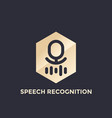 speech recognition logo on gold shape vector image