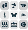 summer icons set with flower crab pineapple and vector image