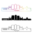 Tucson V2 skyline linear style with rainbow vector image vector image