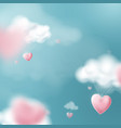 valentines day with heart balloons flying vector image vector image