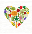 vegetable icon heart shape for food concept vector image vector image