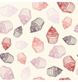 Vintage cupcake with chalks Sketches Seamless vector image