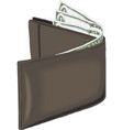 wallet money with dollar bill financial isolated vector image vector image