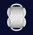 white greeting box with a large image of a mandala vector image vector image