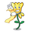 with menu daffodil flower mascot cartoon vector image