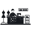 woman tailor concept banner simple style