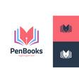 writer book logo template design book pen vector image