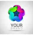 abstract geometric rainbow flower logo 3D colorful vector image