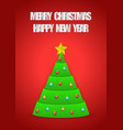 christmas tree with merry christmas and happy new vector image