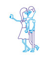 line couple kissing and taking selfie with vector image