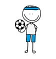 drawing boy with balloon soccer isolated icon vector image