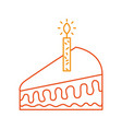 piece of cake with one candle celebrating the vector image