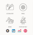 accumulator wheel and car service icons vector image vector image