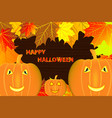 autumn leaves and halloween pumpkins vector image