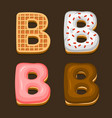 b letter belgium waffles with different toping vector image vector image