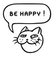 be happy cartoon cat head speech bubble vector image