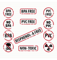 Bisphenol-A and PVC free stamps set vector image vector image