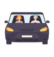 black car with driver and passenger front view vector image vector image