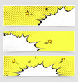 bright yellow comic book style explosion headers vector image vector image