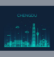 chengdu skyline sichuan china linear style vector image vector image
