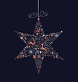christmas holiday star decoration with copper deer vector image vector image