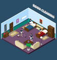 cleaning hotel room isometric design vector image vector image