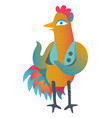 colorful cock in cartoon style vector image vector image