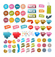 Colorful Retro Paper Set of Discount and New vector image