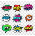 comic text bubbles isolated icons set vector image