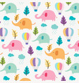 cute elephant pattern background for kids vector image