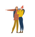 cute happy young man and woman standing vector image vector image