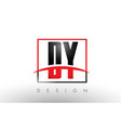 dy d y logo letters with red and black colors and vector image vector image