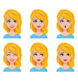 Face expressions of cute blonde woman