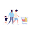 family food shopping man woman boy with cart vector image vector image