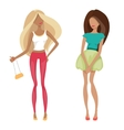 Fashionable blonde and brunette vector image