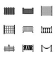 fence icons set simple style vector image vector image